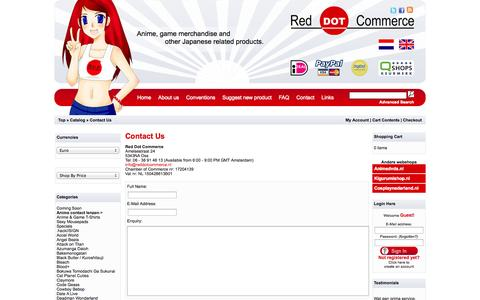 Screenshot of Contact Page reddotcommerce.nl - Red Dot Commerce - Anime and Gaming merchandise - captured Oct. 1, 2014