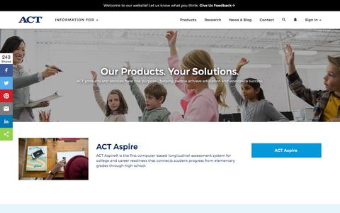 Screenshot of Products Page act.org - Products and Services for K-12 Education, College and Career Success | ACT - captured Dec. 23, 2017