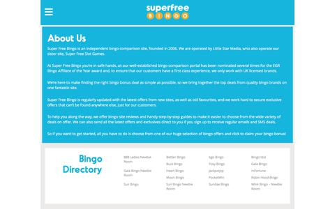 Screenshot of About Page superfreebingo.com - About us | Find out more about Super Free BingoSuper Free Bingo- - captured July 5, 2019