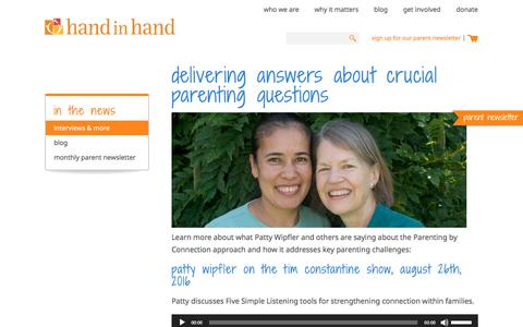 Screenshot of Press Page handinhandparenting.org - In the News | Hand in Hand Parenting - captured June 27, 2018