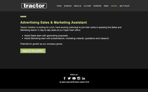 Screenshot of Jobs Page tractoroutdoor.com - Tractor Outdoor | Careers - captured Sept. 21, 2018