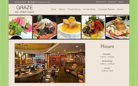 Screenshot of Hours Page grazews.com - GRAZE Winston-Salem Hours - Dining & Bar Open Daily - captured Jan. 30, 2018