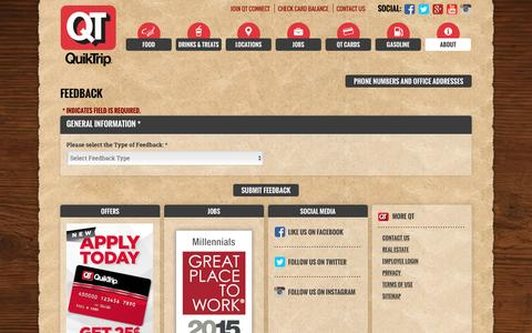 Screenshot of Contact Page quiktrip.com - QuikTrip Corporation > About > Contact Us - captured Dec. 5, 2016
