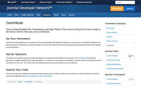 Screenshot of Developers Page joomla.org - Framework - Contribute - captured Nov. 6, 2019