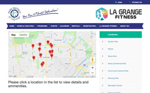 Screenshot of Locations Page pdlg.org - Park District of La Grange |   Parks & Facilities Locations - captured Sept. 26, 2018