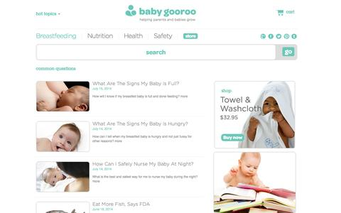Screenshot of FAQ Page babygooroo.com - Common Questions l baby gooroo - captured Sept. 24, 2014