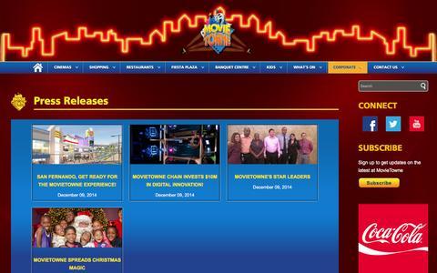 Screenshot of Blog movietowne.com - Corporate | Press Releases | MovieTowne - captured Feb. 18, 2016