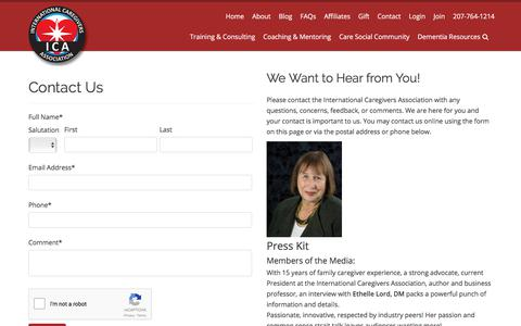 Screenshot of Contact Page internationalcaregiversassociation.com - Contact The International Caregivers Association To Learn More - captured Oct. 31, 2017