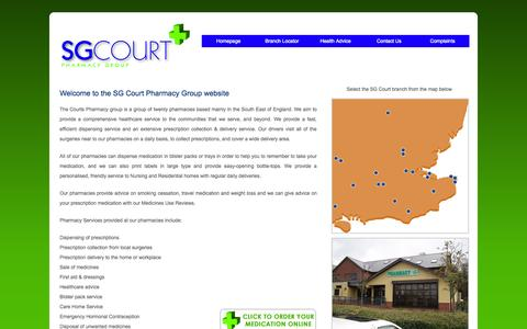 Screenshot of Home Page sgcourt.co.uk - SG Court Pharmacy Group - captured Oct. 3, 2014
