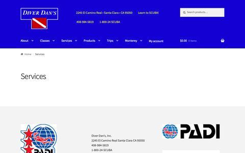 Screenshot of Services Page diverdans.com - Services | Diver Dan's - captured Oct. 9, 2018