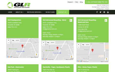 Screenshot of Locations Page glradvanced.com - GLR Advanced Recycling Detroit Scrap Metal locations - captured July 6, 2017