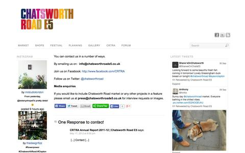 Screenshot of Contact Page chatsworthroade5.co.uk - Contact | Chatsworth Road E5 - captured Oct. 1, 2014