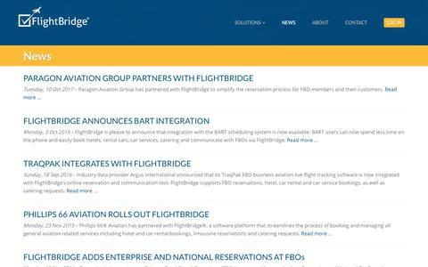 Screenshot of Press Page flightbridge.com - News : FlightBridge - captured Aug. 15, 2018
