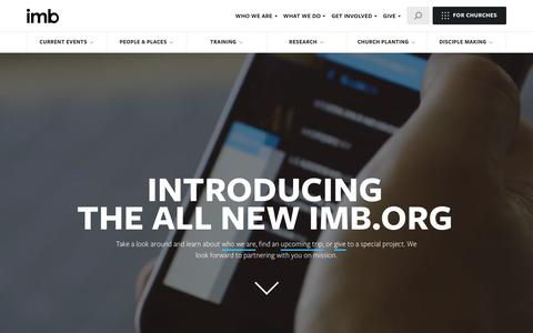 Screenshot of Home Page imb.org - Home - International Mission Board - captured Sept. 15, 2016
