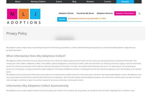 Screenshot of Privacy Page mljadoptions.com - Privacy Policy | International Adoption Agency | Indiana LCPA  » - captured July 19, 2016