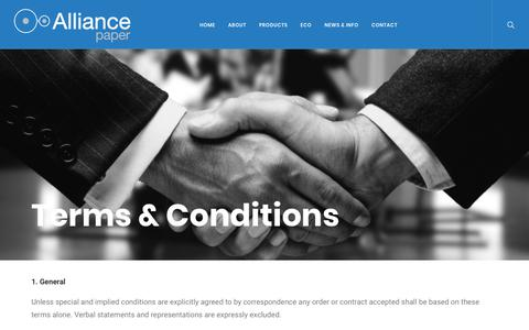 Screenshot of Terms Page alliancepaper.com.au - Terms & Conditions - Alliance Paper - captured Oct. 3, 2018