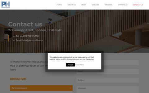 Screenshot of Contact Page piercehill.com - Contact us - Piercehill - captured Nov. 4, 2018