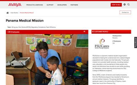 Screenshot of Case Studies Page avaya.com - Panama Medical Mission - Videoconferencing Studies - Avaya Case Study - captured May 3, 2018