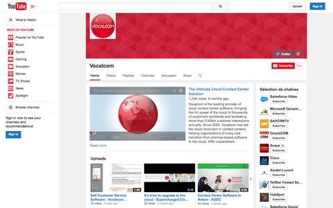Screenshot of YouTube Page youtube.com - Vocalcom  - YouTube - captured Oct. 26, 2014