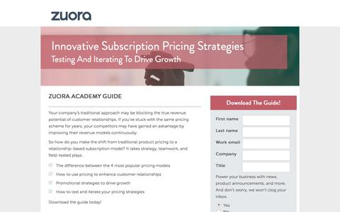 Screenshot of Landing Page zuora.com - Innovative Subscription Pricing Strategies | Zuora Academy - captured March 14, 2016