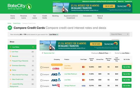 Compare Credit Cards | Card Comparison | RateCity