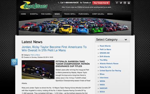 Screenshot of Press Page roadatlanta.com - News - Road Atlanta - captured Oct. 7, 2014