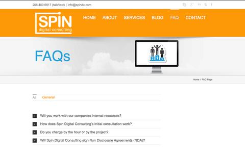 Screenshot of FAQ Page spindc.com - FAQ Page - Spin Digital Consulting - captured Oct. 7, 2014