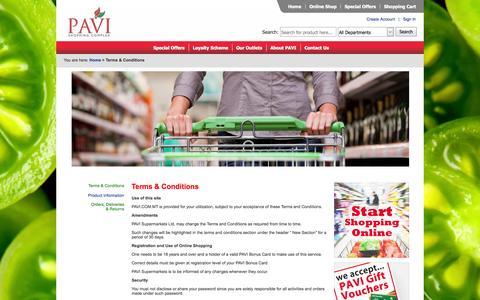 Screenshot of Terms Page pavi.com.mt - PAVI Supermarket - captured Oct. 2, 2014