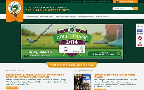 Screenshot of Home Page wochamber.com - West Orange Chamber of Commerce | Facilitating Opportunity - captured Oct. 6, 2014