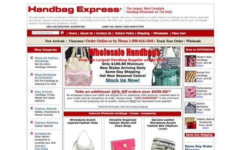 Screenshot of Home Page handbagexpress.com - Handbag Express ¨ - Wholesale handbags, wholesale designer handbags, wholesale fashion handbags - captured Jan. 17, 2016