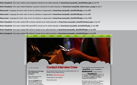 Screenshot of Contact Page interview.net.au - INTERVIEW Dance Parties Enquiries Contact the Crew - captured Oct. 6, 2014