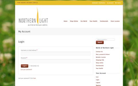Screenshot of Login Page northernlight.com.au - My Account - Organic Beeswax Candles - captured Oct. 19, 2018