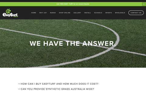 Screenshot of FAQ Page easyturf.com.au - Synthetic Turf FAQ | EasyTurf — Easy Turf - captured Jan. 25, 2016