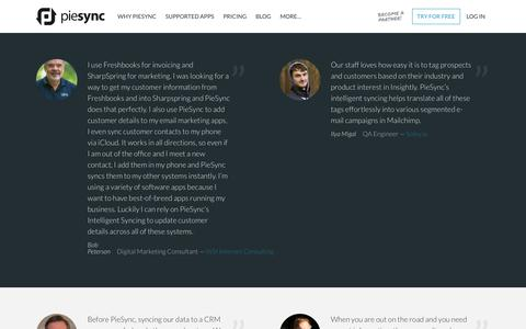 Screenshot of Testimonials Page piesync.com - PieSync Testimonials - PieSync - captured Sept. 7, 2017