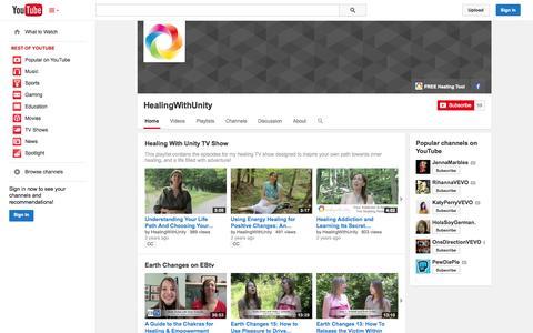 Screenshot of YouTube Page youtube.com - HealingWithUnity  - YouTube - captured Nov. 3, 2014