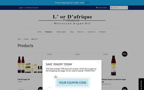 Screenshot of Products Page orafrique.com - Products – L'or D'afrique - captured Jan. 24, 2016