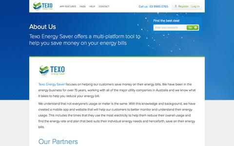 Screenshot of About Page texoenergysaver.com - Electricity & Gas Price Comparison Melbourne, Victoria - captured Oct. 26, 2014