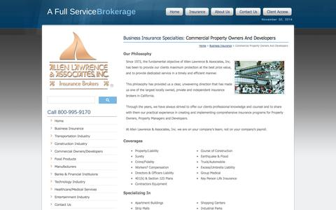 Screenshot of Developers Page allenlawrence.com - Business Insurance Specialties: Commercial Property Owners And Developers - Allen Lawrence & Associates, Inc. - captured Nov. 2, 2014