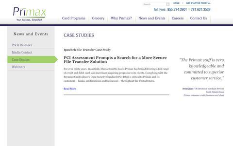 Screenshot of Case Studies Page primax.us - Case Studies | Primax - captured Sept. 30, 2014