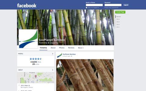 Screenshot of Facebook Page facebook.com - EcoPlanet Bamboo - Barrington, Illinois - Forestry & Logging | Facebook - captured Oct. 22, 2014