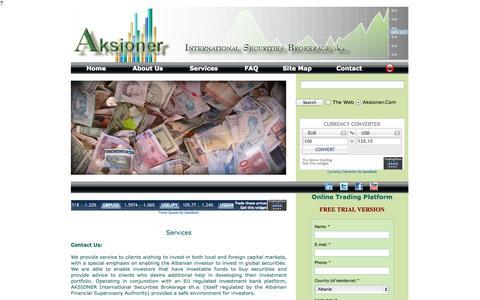 Screenshot of Services Page aksioner.com - AKSIONER - captured Oct. 4, 2014