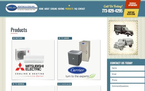 Screenshot of Products Page deljoheating.com - Chicago, IL Heating & Cooling Product | HVAC Products - captured Oct. 8, 2018