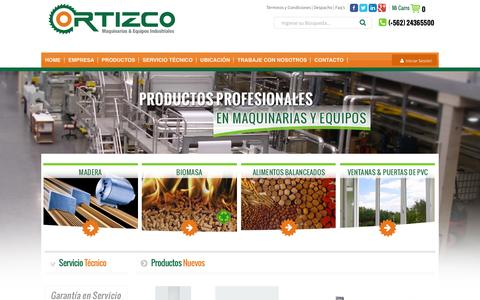 Screenshot of Home Page Login Page ortizco.cl - ORTIZCO   Maquinarias & Equipos Industriales   Home - captured Feb. 9, 2016