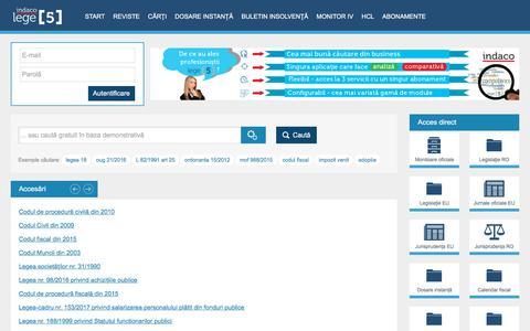 Screenshot of Home Page lege5.ro - Lege5 Online   Viitorul documentării legislative - captured July 18, 2018