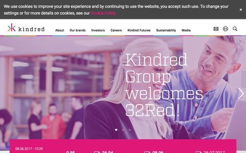 Screenshot of Home Page kindredgroup.com - Kindred plc - captured June 9, 2017