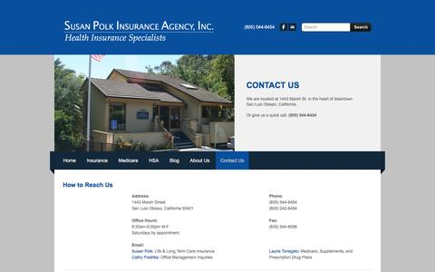Screenshot of Contact Page susanpolk.com - Contact | Susan Polk Insurance Agency, Inc. |  (805) 544-6454 -  	 	Susan Polk Insurance - captured June 10, 2016
