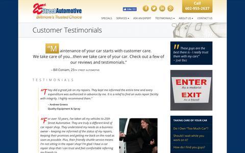 Screenshot of Testimonials Page 25thstreetautomotive.com - Customer Testimonials from 25th Street Automotive in AZ - captured Sept. 21, 2018