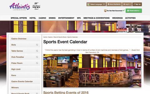 Screenshot of atlantiscasino.com - Atlantis Sports Event Calendar | Reno Sports Betting - captured July 7, 2016
