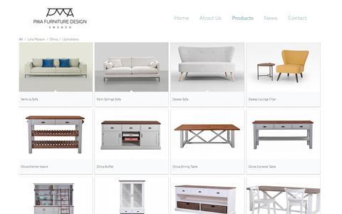 Screenshot of Products Page pmafurniture.com - PMA Furniture & Design     Ranges - captured Oct. 16, 2016