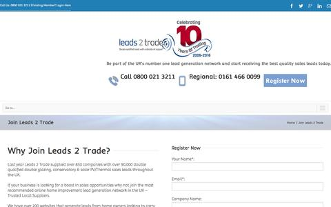 Screenshot of Signup Page leads2trade.co.uk - Join Leads 2 Trade - Leads 2 Trade - captured Jan. 27, 2016